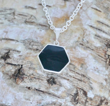 Load image into Gallery viewer, Goldstone & Whitby Jet Pendant Hexagon Design