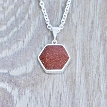 Load image into Gallery viewer, goldstone silver pendant handmade in the uk