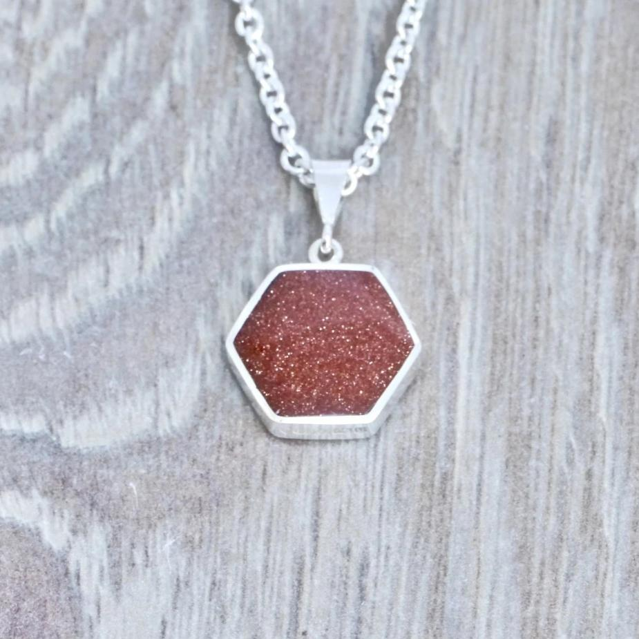 goldstone silver pendant handmade in the uk