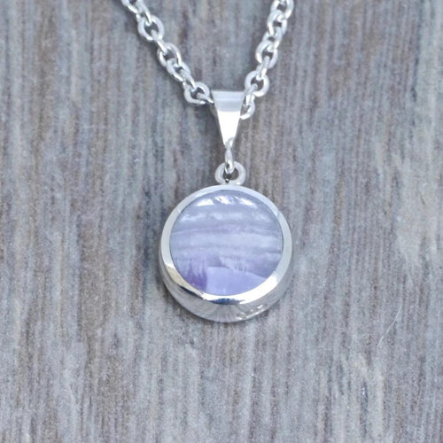 amethyst pendant in sterling silver handmade in the UK