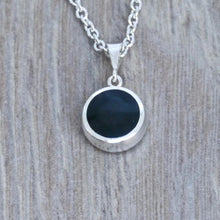 Load image into Gallery viewer, whitby jet pendant in silver handmade in the UK