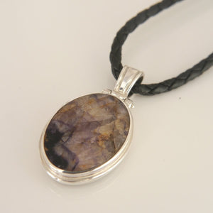 Blue John and Jet reversible pendant