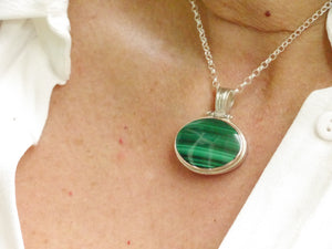 Malachite & Blue John Reversible Pendant Oval