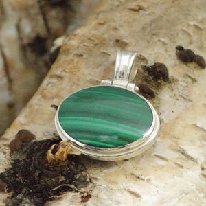 malachite and blue john reversible oval pendant