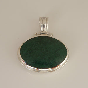 Jet & Verdite Double Sided Pendant