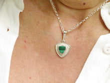 Load image into Gallery viewer, malachite triangle silver pendant