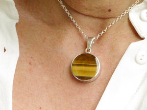 tigers eye and ammonite pendant double sided