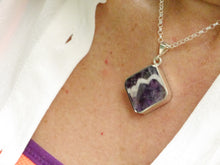 Load image into Gallery viewer, Amethyst Lace & Whitby Jet Double Sided Pendant