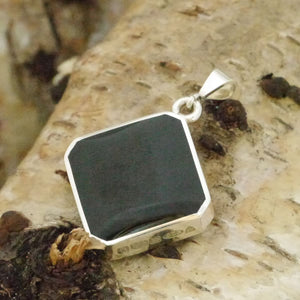 Whitby Jet and Amethyst Lace Double Sided Pendant