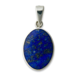 lapis and blue john reversible pendant in siver
