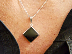 Whitby Jet Silver Pendant Diamond Square Design
