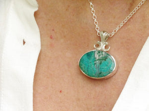 blue jasper and malachite double sided pendant
