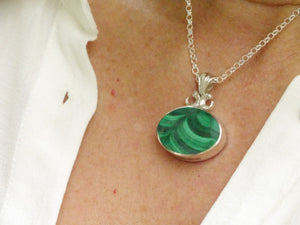 malachite and blue jasper double sided pendant