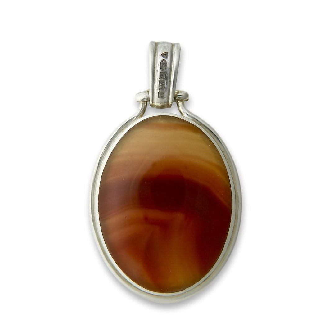 handmade agate pendant in hallmarked sterling silver