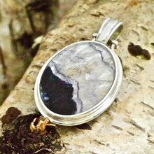 Load image into Gallery viewer, blue john and agate reversible pendant in sterling silver