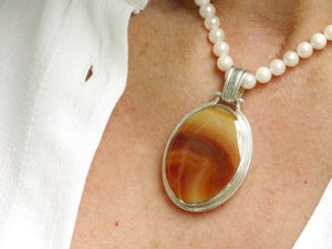 Agate & Blue John Reversible Pendant Oval Design