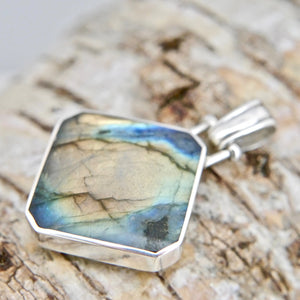 labradorite silver double sided pendant with blue john