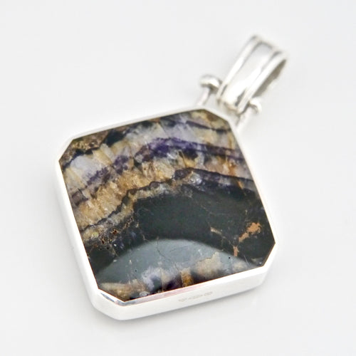 blue john silver double sided pendant with labradorite handmade in the UK
