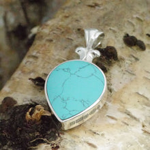 Load image into Gallery viewer, turquoise pendant in sterling silver double sided with agate
