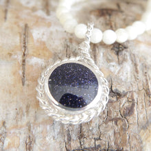 Load image into Gallery viewer, Tiger Eye & Blue Goldstone Double Sided Round Pendant