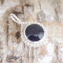 Load image into Gallery viewer, Blue Goldstone and Tiger Eye reversible pendant