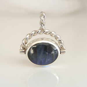 Jet & Labradorite Double Sided Swivel Pendant