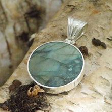 Load image into Gallery viewer, labradorite 30mm round pendant in hallmarked sterling silver