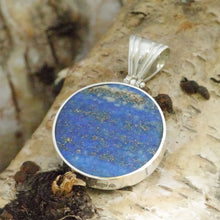 Load image into Gallery viewer, Lapis Lazuli 30mm round pendant in hallmarked sterling silver