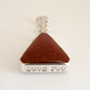 "Goldstone and Blue John ""Love You"" Pendant"