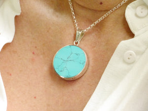 "Agate & Turquoise ""Love You"" Silver Pendant"