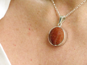 "Goldstone & Sodalite ""Love You"" Silver Pendant"