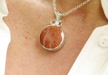 Load image into Gallery viewer, goldstone pendant by my handmade jewellery engraved love you