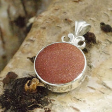 Load image into Gallery viewer, goldstone love you pendant in sterling silver