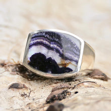 Load image into Gallery viewer, Blue John Gents Silver Ring
