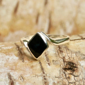 Whitby Jet Diamond Shape Silver Ring