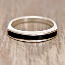 Load image into Gallery viewer, Whitby Jet inlaid Silver Ring