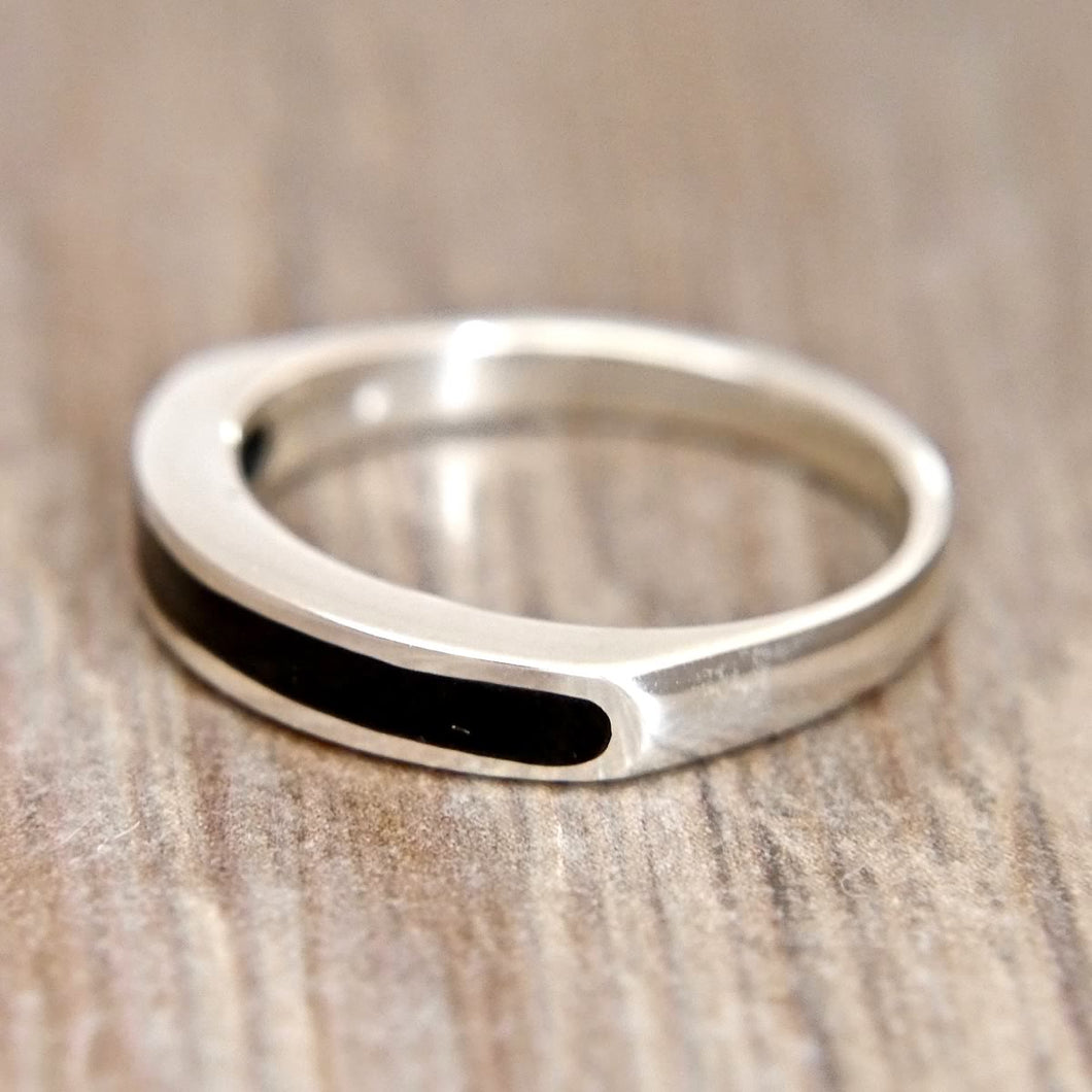 Whitby Jet inlaid Silver Ring