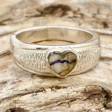 Load image into Gallery viewer, blue john heart in sterling silver ring