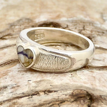 Load image into Gallery viewer, silver ring with blue john heart