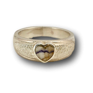 handmade silver ring with blue john heart stone