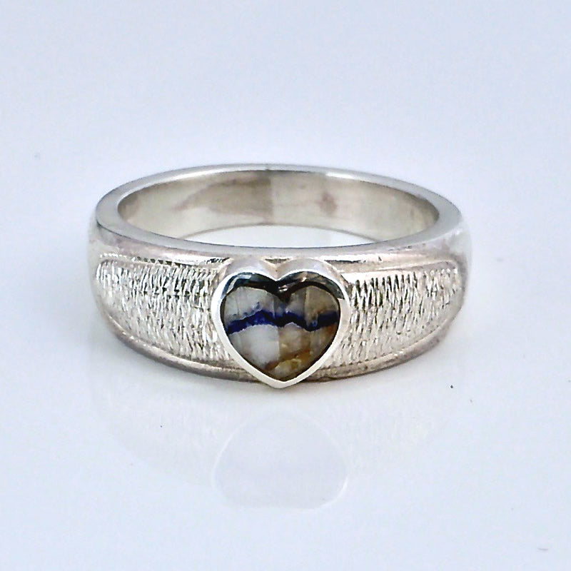 handmade silver ring with blue john heart