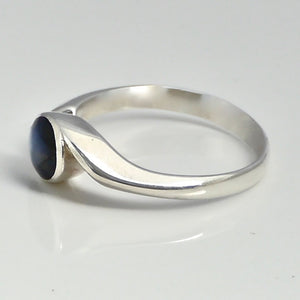 labradorite sterling silver ring swirl design