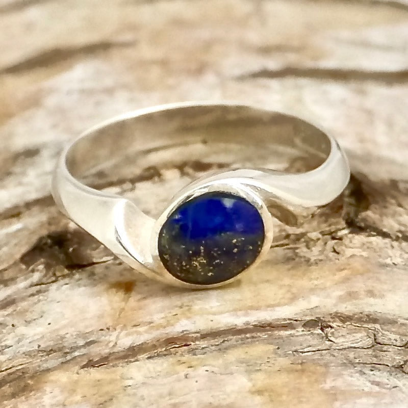 handmade lapis silver ring in swirl design