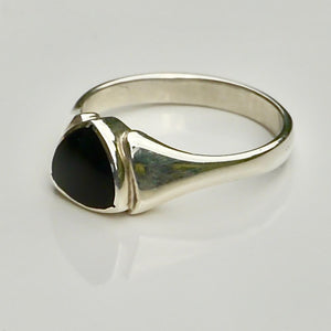 whitby jet silver ring trillion