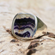 Load image into Gallery viewer, Blue John Gents Rectangle Silver Ring