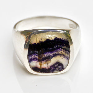 Blue John Gents Rectangle Silver Ring