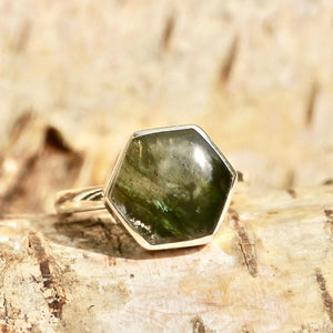Labradorite Hexagon Style Ring