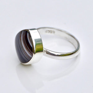 Banded Agate Square Ring
