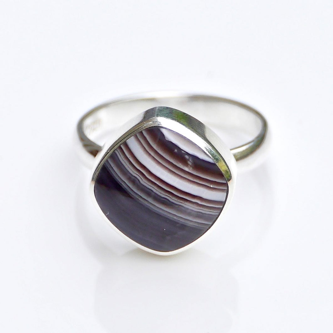 Banded Agate Silver Ring