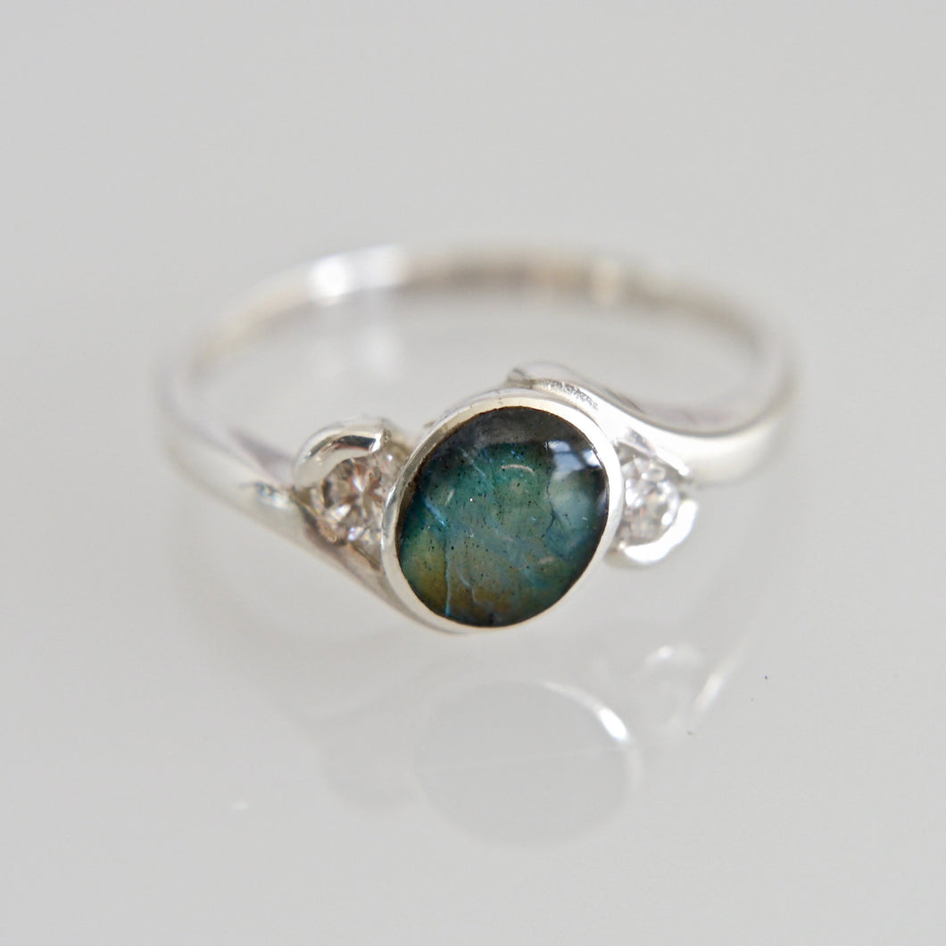Labradorite Ring with Cubic Zirconia